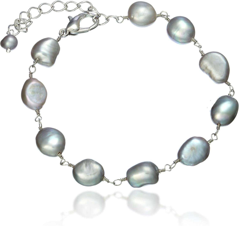 Lustroso–Plata gris barroco Pearl Pulsera