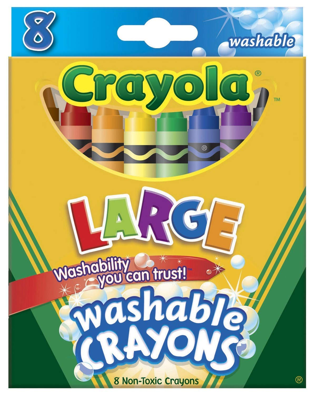 Wholesale CASE of 25 - Crayola Kid's Large Washable Crayons-Crayons, Bright, Washable, Nontoxic, 8/BX, Assorted