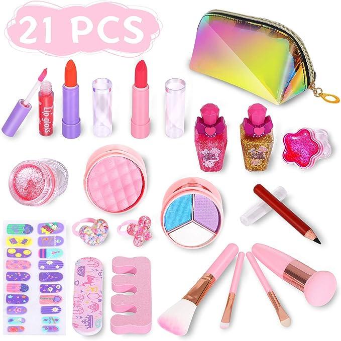 ARANEE 21PCS Kinder Make-up Set für Mädchen, waschbares Spiel Makeup Toy Kit mit Glitter Kosmetiktasche
