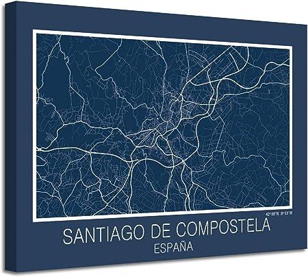 Foto Canvas Cuadro Mapa Santiago de Compostela España en Lienzo Canvas Impreso Decorativo | Cuadros Modernos: Amazon.es: Hogar