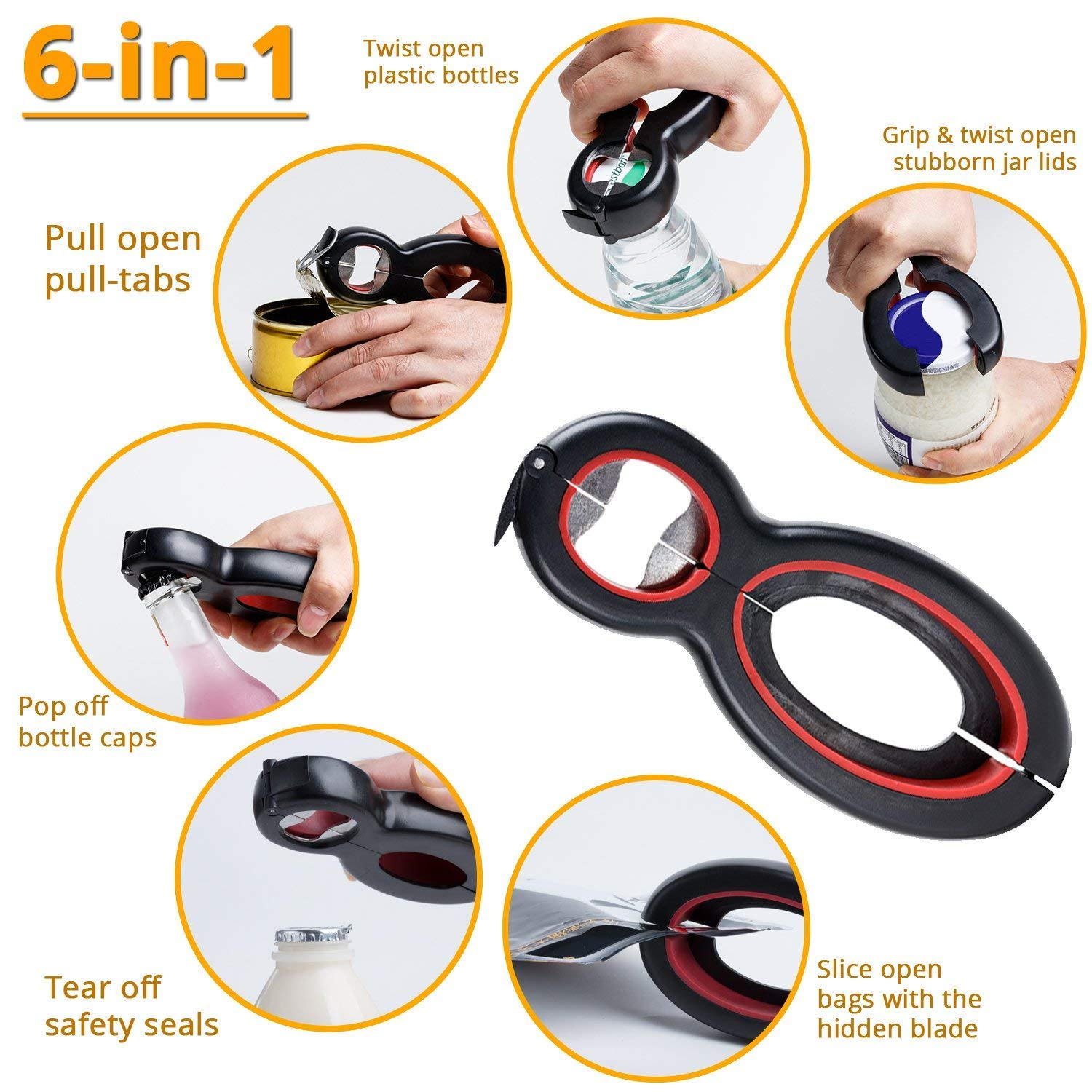 Seniors with Arthritis Twist Off Lid Hand Weakness Can Bottle Opener Soda and Jar Openers 5-in-1 and 6-in-1 2 pack Jar Opener for Seniors and Arthritic Hands