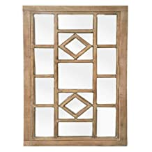 Ashley Furniture Signature Dreama Accent Mirror- Casual Style - Natural Finished Wood - Geometric Design