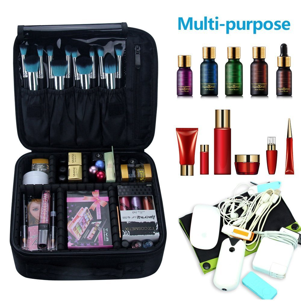 Travel Makeup Bag, Portable Cosmetic Case Organizer Artist Storage Bag - Black