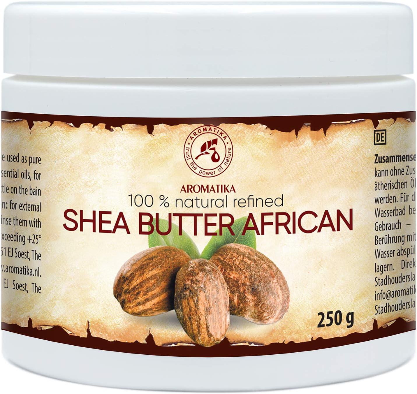 Manteca de Karité Africana 250g - Ghana - Refinado - 100% Puro y Natural - Mejor para el Cabello - Piel - Labio - Cara - Cuidado del Cuerpo - Shea Butter - Botella de Vidrio