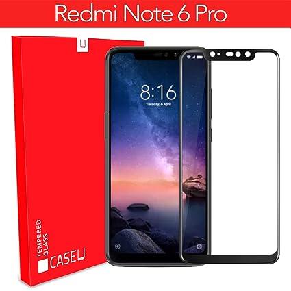 hot sale online dd2cc 9cc4b CASE U Edge 6D Tempered Glass Screen-Protector for Redmi Note 6 Pro (Black)