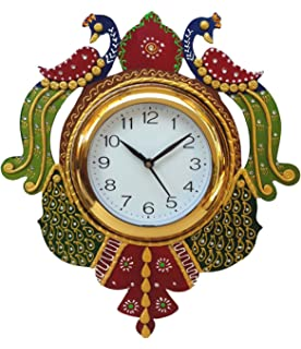divine crafts peacock papier mache wall clock multicolor