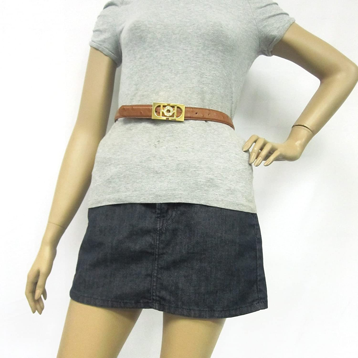 """1"""" Women's Classic Rectangle Buckle on Quality Ostrich Embossed Leatherette Belt"""