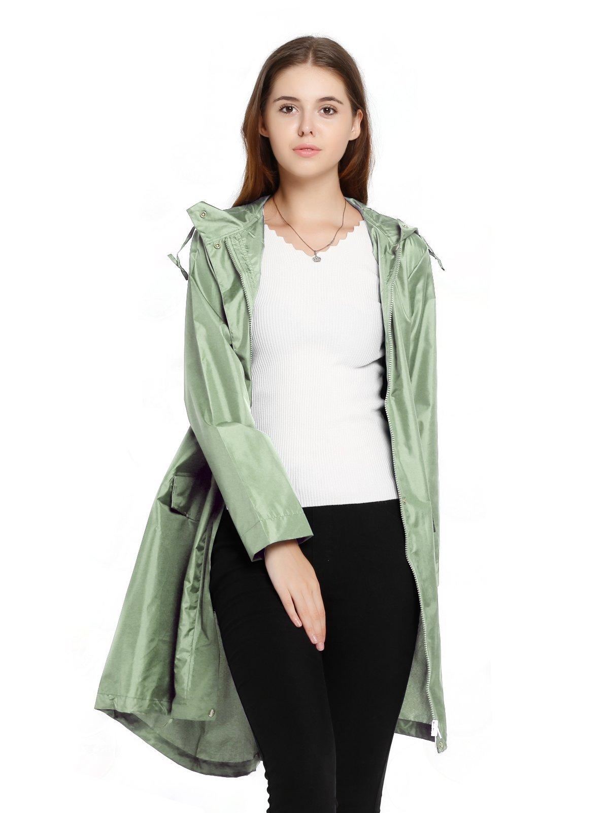 Spring Fever Womens Long Lightweight Raincoat Outdoor Hooded Packable Waterproof Rain Jacket Green L