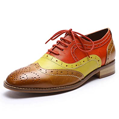 4a4f25caaa Mona flying Womens Leather Perforated Lace-up Saddle Oxfords Brogue Wingtip  Derby Shoes