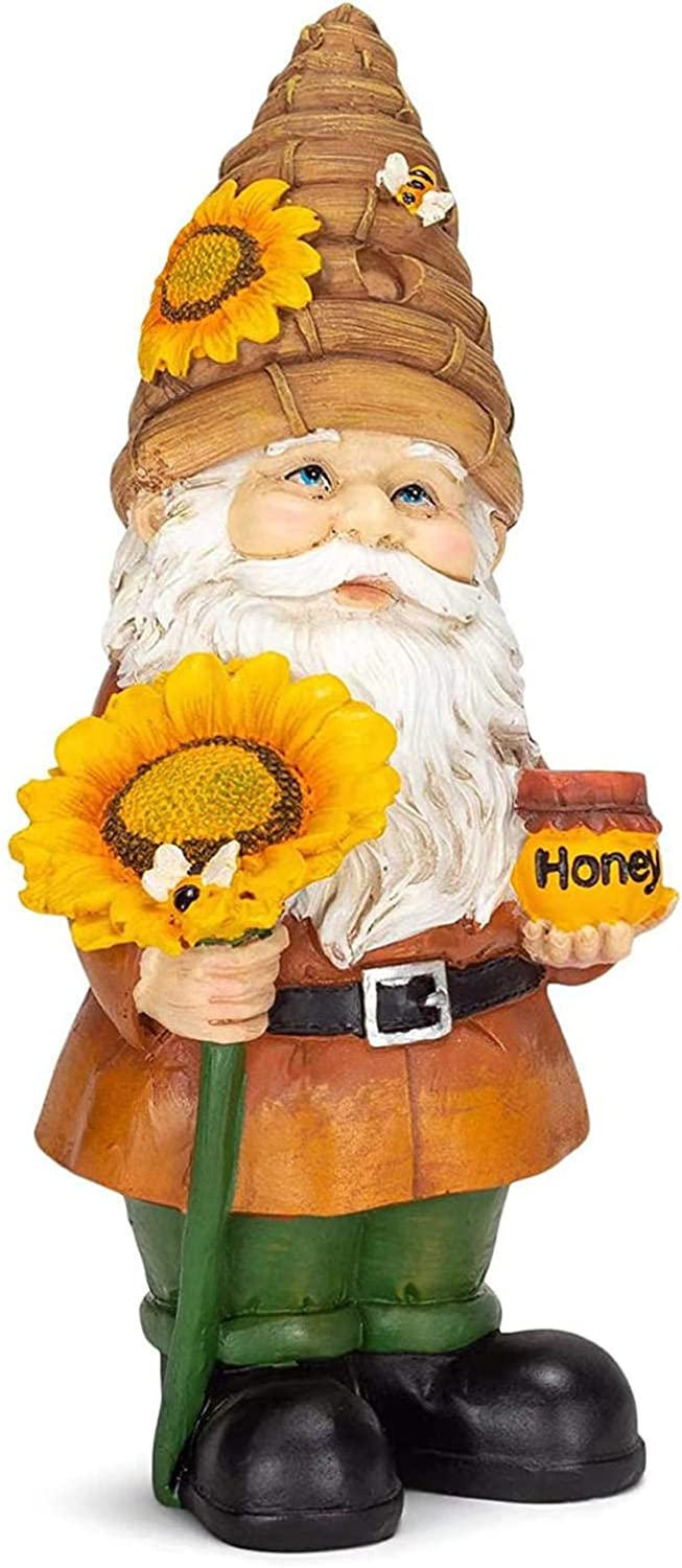 Sunflower Gnome Statue -Sunflower Garden Gnome Statues for Outside Decorations, World Bee Day Fairy Dwarf Figurine Resin Art for Patio, Lawn, Yard Decoration