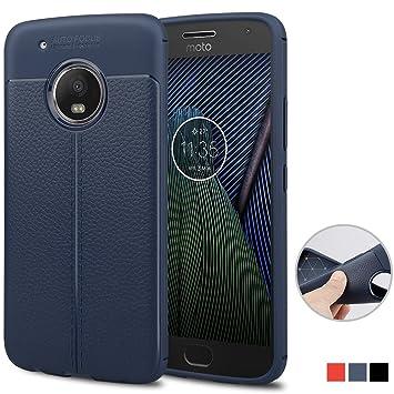 achoTREE Funda Motorola Moto G5 Plus, Patrón Avanzado de Lichi Ultra Fina Suave TPU Silicona Carcasa Case para Motorola Moto G5 Plus, Azul Oscuro 5.2 ...