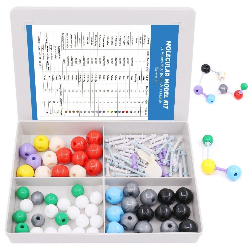 Swpeet 92 Pcs Chemistry Molecular Model Student and Teacher Set, Molecular Model Set for Inorganic & Organic Chemistry - 52 Atoms & 37 Bonds & 3 Orbitals