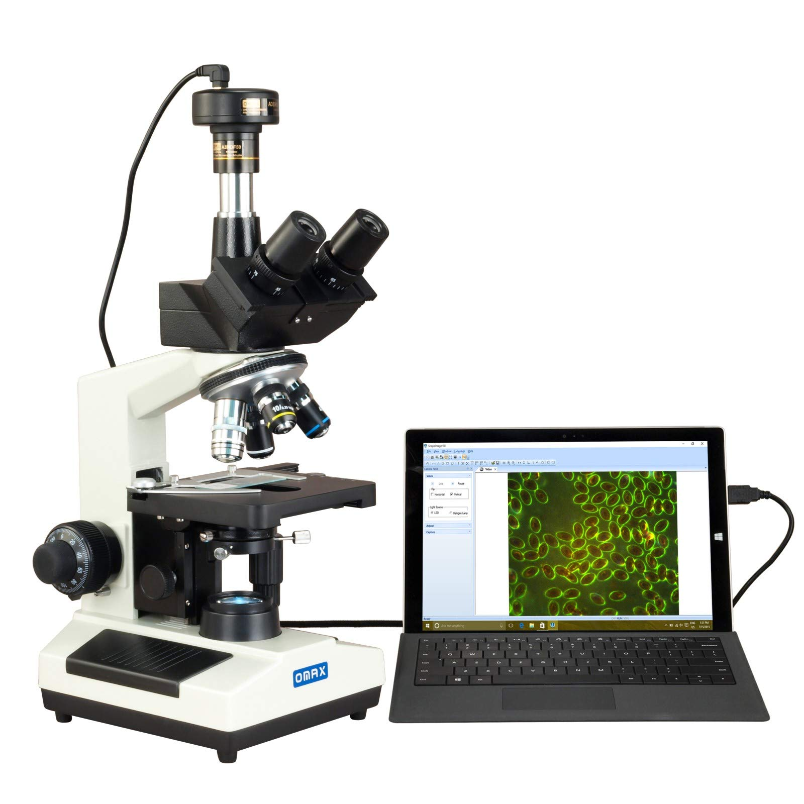 OMAX 40X-2000X Compound Advance Darkfield Trinocular LED Microscope with 5.0MP Digital Camera by OMAX
