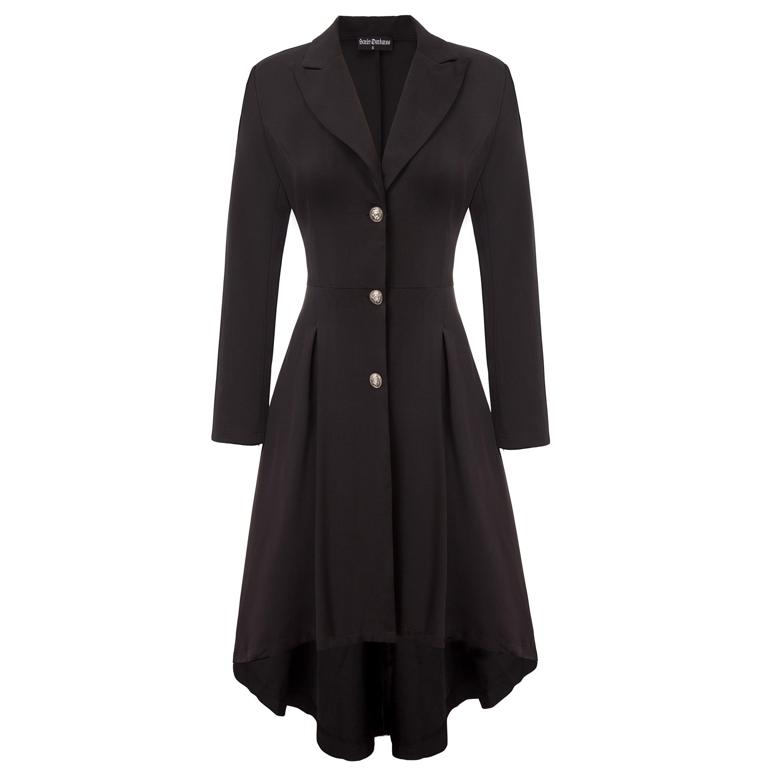 SCARLET DARKNESS Women Gothic Trench Coat Turn-Down Lapel Collar Coat Black S by SCARLET DARKNESS