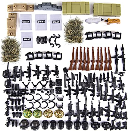 Military Soldiers Bricks Figures Car Guns Weapons Building Blocks Kids Toys educ
