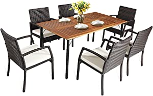 HAPPYGRILL 7PCS Patio Dining Furniture Set Outdoor Rattan Wicker Dining Set with Umbrella Hole, Powder Coated Steel Frame, Acacia Wood Dining Table and Armchairs with Removable Cushions
