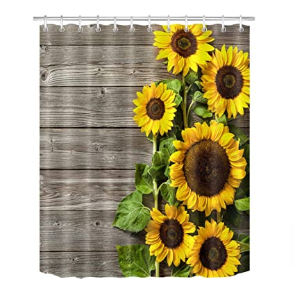LB Yellow Sunflower on Rustic Wood Plank Bathroom Decor Shower Curtains by,  Vintage Floral Country Rural Theme, Mildew Resistant Waterproof Fabric