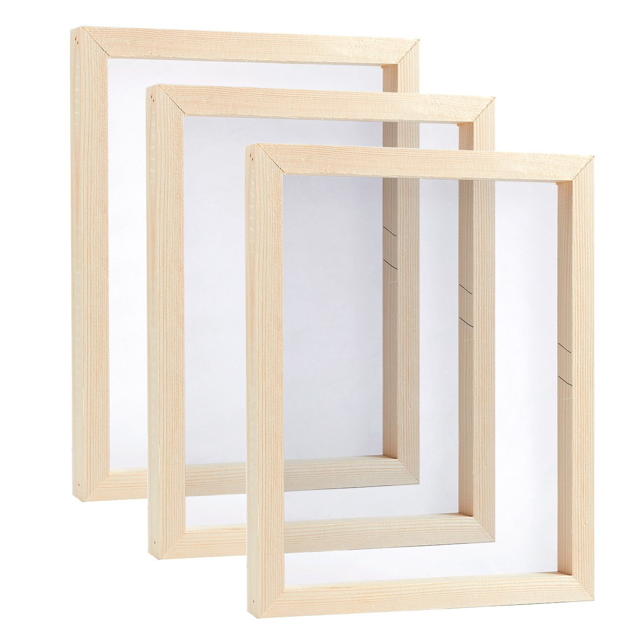 Screen Printing Frame - 3-Pack Mesh Screen with Natural Wooden Frame, Print T-Shirts, Image Transfer, 8 x 10 x 0.75 inches Juvale