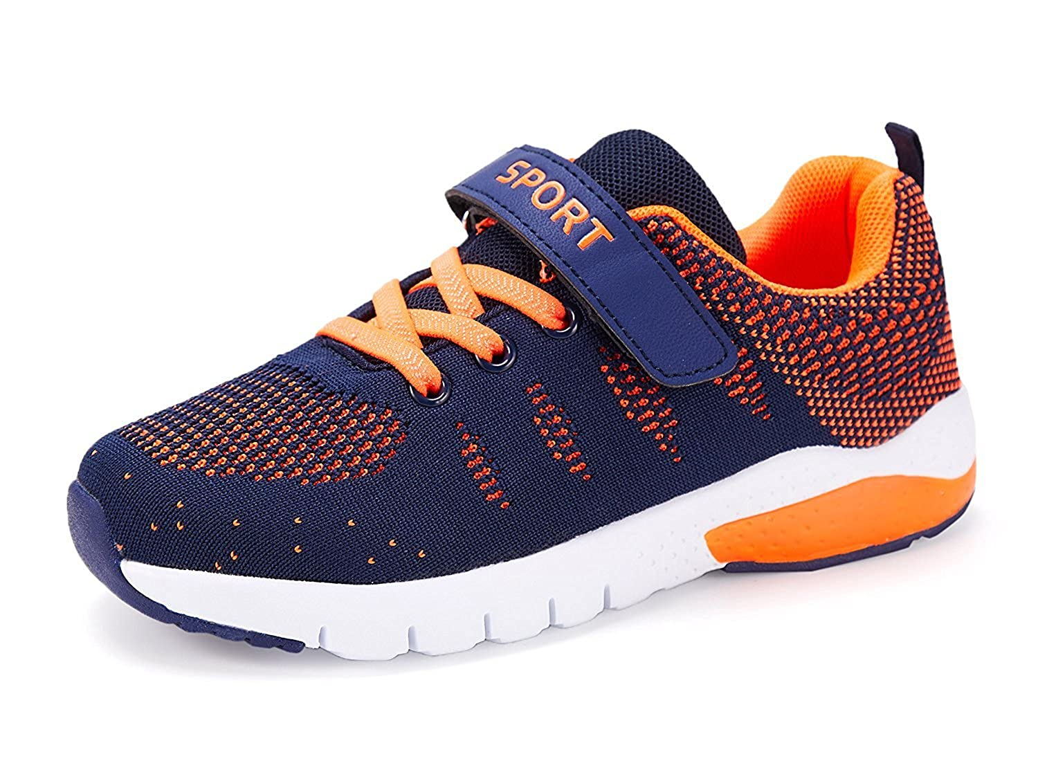newest 96793 6daa3 MAYZERO Kids Tennis Shoes Breathable Athletic Shoes Lightweight Walking  Running Shoes Fashion Sneakers for Boys and Girls Orange Size  M US Big Kid   ...