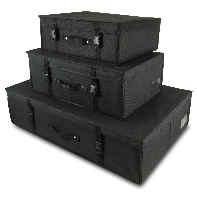 Amazon.de: 3 schwarze Aufbewahrungsboxen für Kleider, Lagerung ...