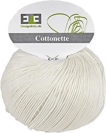 Designette - Ovillo de hilo de algodón (100 % algodón egipcio mercerizado, 10 capas, 100 g)Aprox.