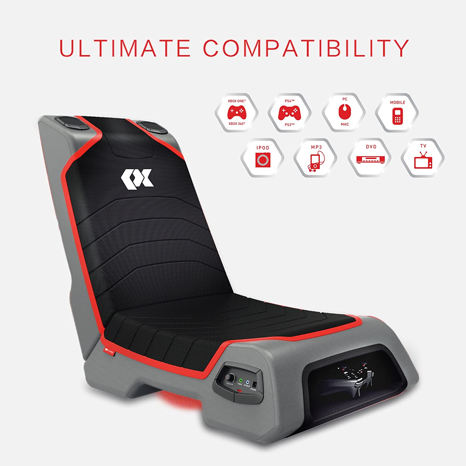 Game chairs for xbox 360 - Amazon Com Proxelle Video Game Chair Dual 3w Speakers Ps4 Ps3 Ps2 Xbox One Xbox 360 Nintendo Wii Connect Through Tv Dvd Ipod Iphone Android And Mp3