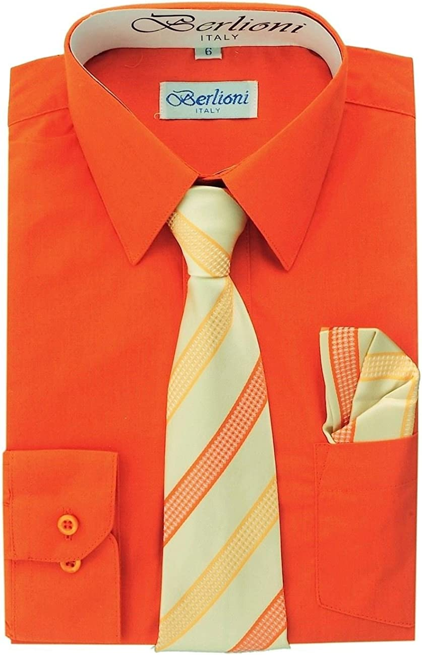 Berlioni Italy Kids Boys Dress Shirt with Tie /& Hanky Long Sleeves Lime