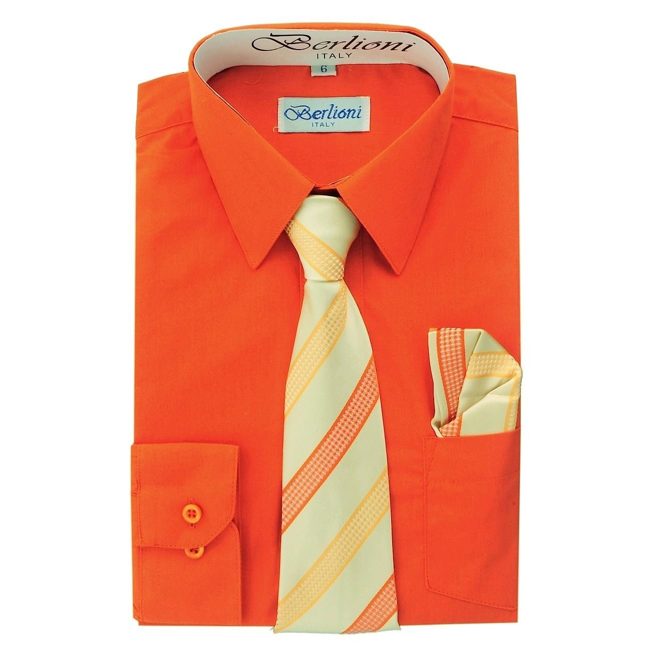 Berlioni Italy Kids Boys Dress Shirt with Tie & Hanky Long Sleeves Orange