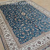 Yilong 6 x9  Hand Knotted Silk Carpet Classic Kerman Style Floral Design Handmade Home Rugs (Sky Blue) YL0966