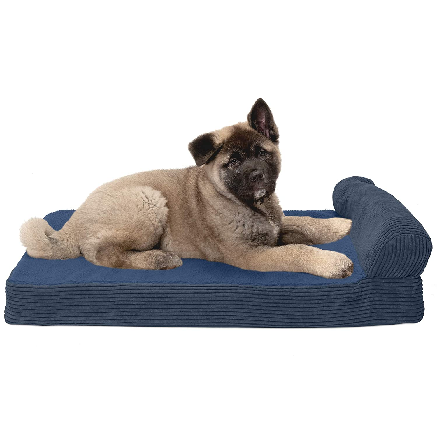 FurHaven Pet Dog Bed   Cooling Gel Memory Foam Orthopedic Faux Fleece & Corduroy Lounge Pet Bed for Dogs & Cats, Navy, Medium