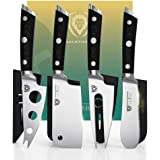 DALSTRONG Charcuterie & Cheese Knife Set - 4-Piece - Gladiator Series - Mini Cleaver, Serrated Knife, Round-Tip, Forked Chees