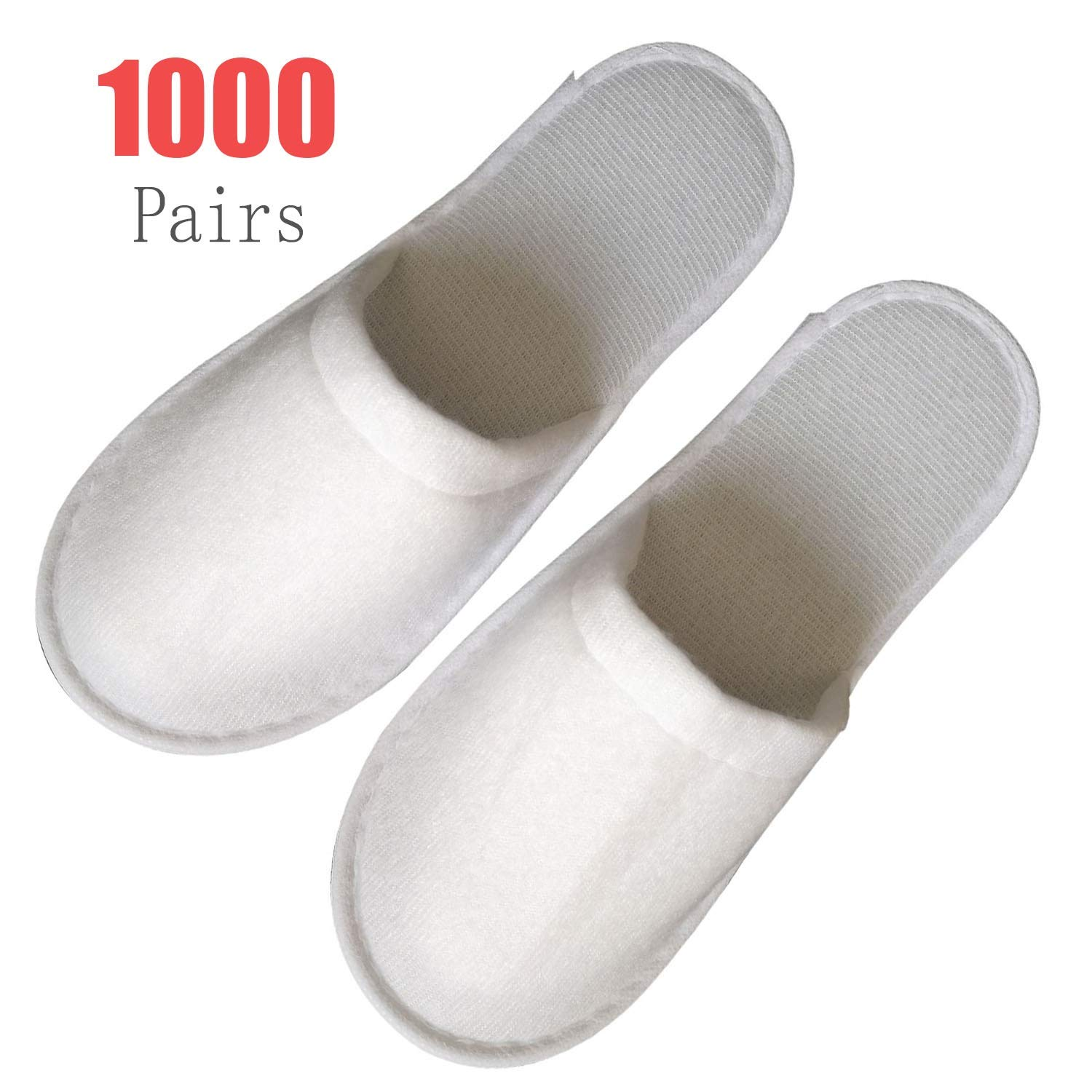 1000 Pairs Slippers Women and Men Disposable Portable 1000 Pair Hotel Disposable Slippers Puller Plush Closed Toe Spa Slippers for Men, Women Non-Slip Slippers for Hotel Home White Spa-