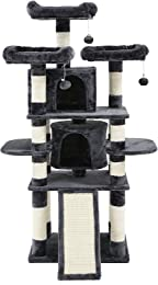 SONGMICS Cat Tree Condo with Scratching Post Pad Cat Tower Furniture House