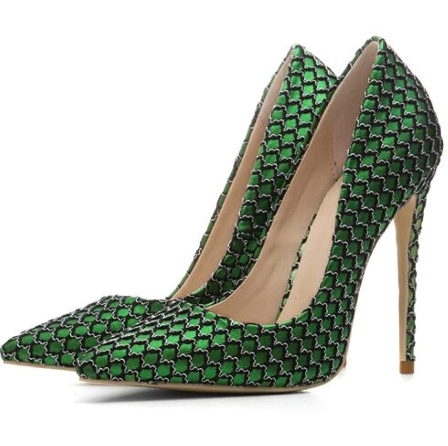 Green Woman Slip On Pumps Satin High Heels 12cm Party shoes