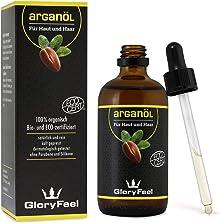 GloryFeel® Arganöl Bio Kaltgepresst 100ml - Bio-Eco-Zertifiziert - 100% Original Argan Oil aus Marokko - Natürliche Pflege für Haut und Haare - Dermatologisch getestet Hergestellt in Deutschland
