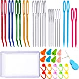 Y-Axis 24 Pcs Assorted Yarn Needles Bent Tapestry Needle Weaving Needle Darning Needles with Storage Box + Knitting Stitch Co