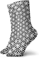 Cotton Crew Socks for Women&Men Compression Athletic Socks Abstract Dress Socks 11.8inch