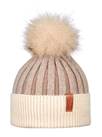 d3f009970ab796 LeMieux Luxury Pom Pom Beanie Hat - Fawn/Cream: Amazon.co.uk: Clothing