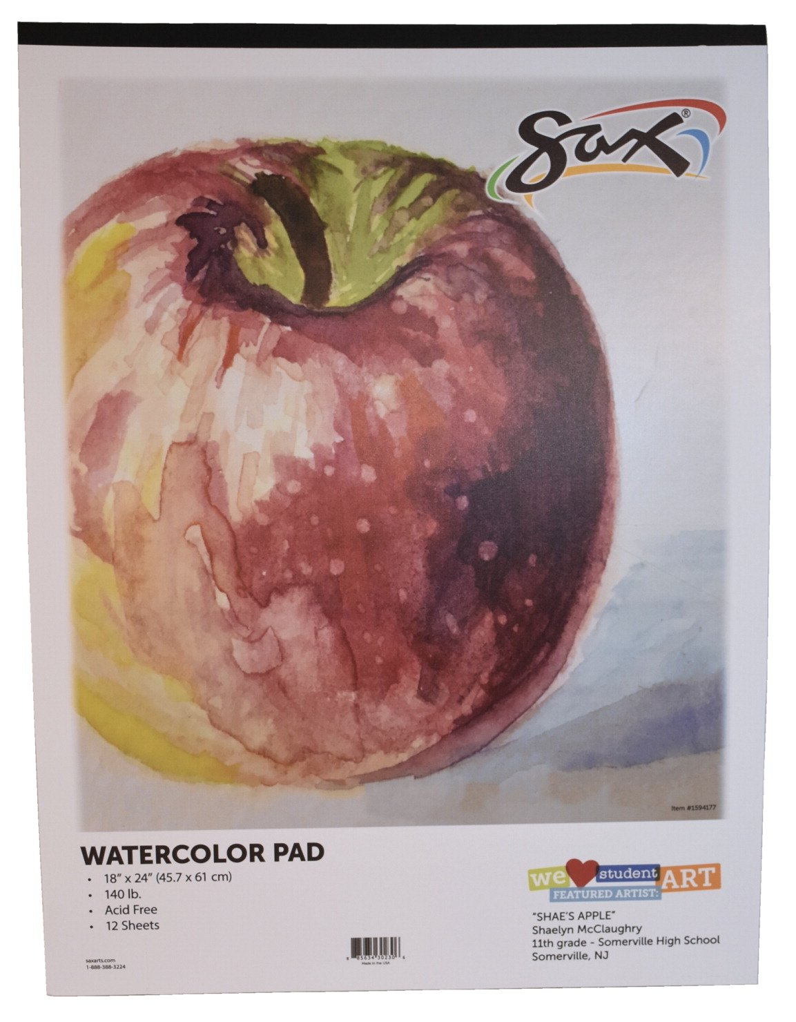 Sax Watercolor Pad White 18 x 24 Inches 140 lb 12 Sheets