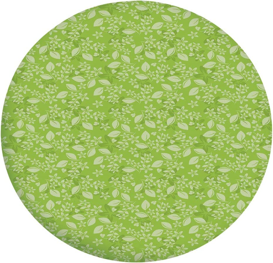 """Elastic Edged Polyester Fitted Table Cover,Flourishing Spring Flowers Fresh Summer Meadow Themed Graphic Flora Print Tablecloth,Fits Round Tables 56-60"""",for Dining Room and Party Apple Green Pale Gree"""