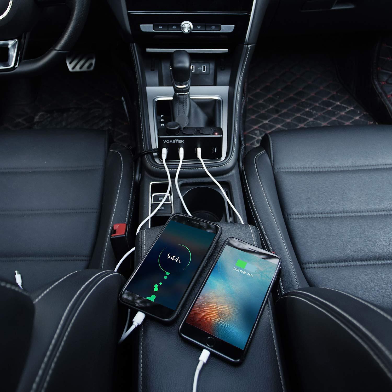 VOASTEK Sdoppiatore Accendisigari Adattatore Accendisigari Multiplo 3 Prese Adattatore per Accendisigari da Auto 12V-24V con Interruttore a Spina e 4 Porte di Ricarica USB 5V 30W Car Charger