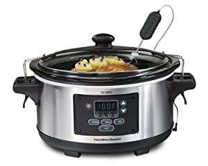 Hamilton Beach 33969A 6-Quart Programmable Set & Forget w/Temperature Probe Slow Cooker, Stainless Steel (Certified Refurbished)