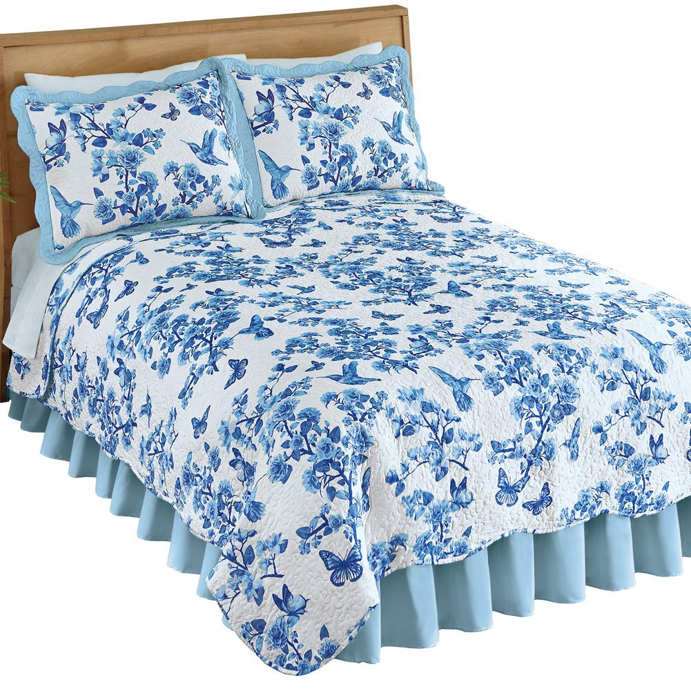 Collections Etc ハチドリと蝶の花柄キルト スカラップエッジ付き - 春の寝室の装飾 キング ブルー 45985 BLUE KING B07MNXKK9N ブルー キング