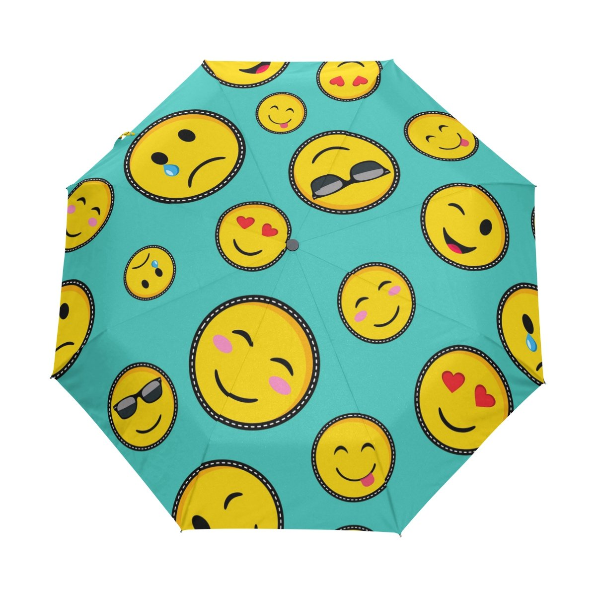 Bennigiry Emoji smiley 3 pieghe auto aperta vicino ombrello, durezza Compact antivento Portable Travel Rain Umbrella Easy Carrying