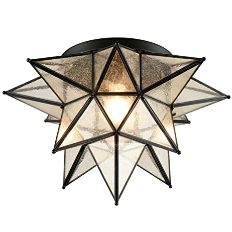Dazhuan Boho Moroccan Black Seeded Glass Moravian Star Flush