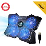 KLIM™ Wind Laptop PC Cooler - The Most Powerful - Rapid Cooling Action - 4 Fans Ventilated Support Gamer Gaming Plate Support - Blue - New 2020 Version