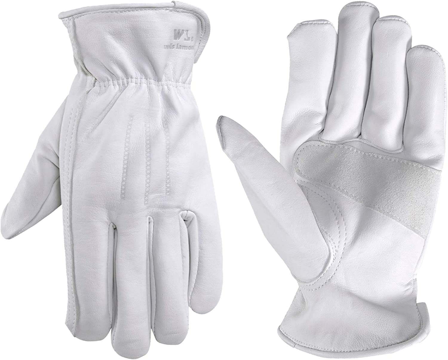Men's Genuine Leather Work Gloves with Reinforced Palm, Large (Wells Lamont 1720), Grey