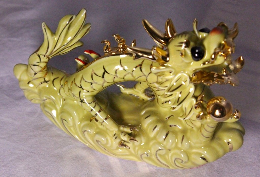 Blue Hand Crafted and Decorated Chinese Porcelain Feng Shui Dragon Figurine 650299