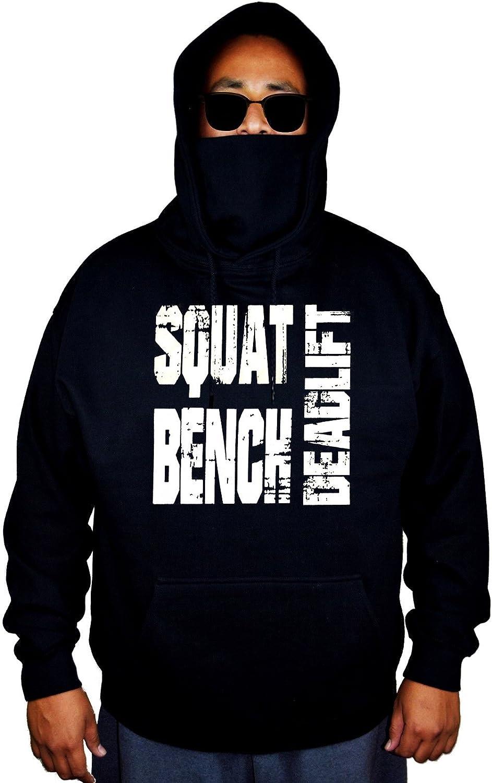 Mens Squat Bench Deadlift Black Mask Hoodie Sweater