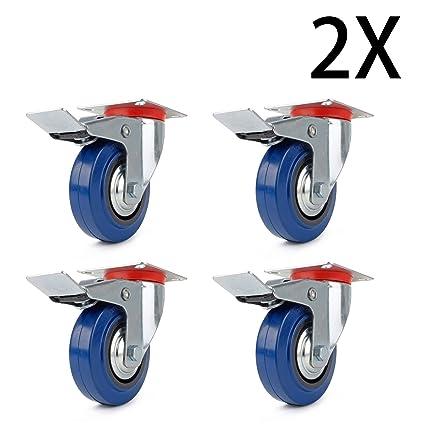 8 ruedas con freno 125 mm ruedas de transporte de la Industria cargas pesadas ruedas ruedas